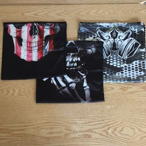 New 3 Spooky Skulls Gaiters Face Masks Stretchy